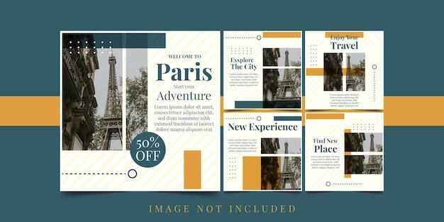 Set flyer willkommen in paris illustration template design