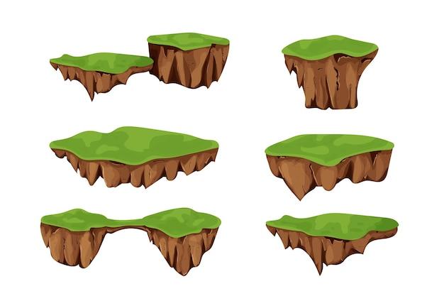 Set flying islands mit boden und gras isoliert auf weißem hintergrund