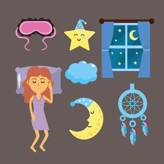 Set frau mit guter nacht sache