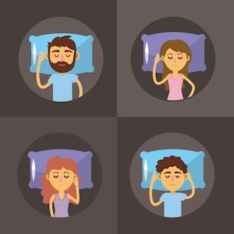 Set frau und mann schlafen mit guter nacht