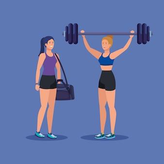 Set frauen mit gewicht und beutel zur gesunden tätigkeit