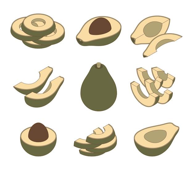 Set frische ganze und geschnittene avocado