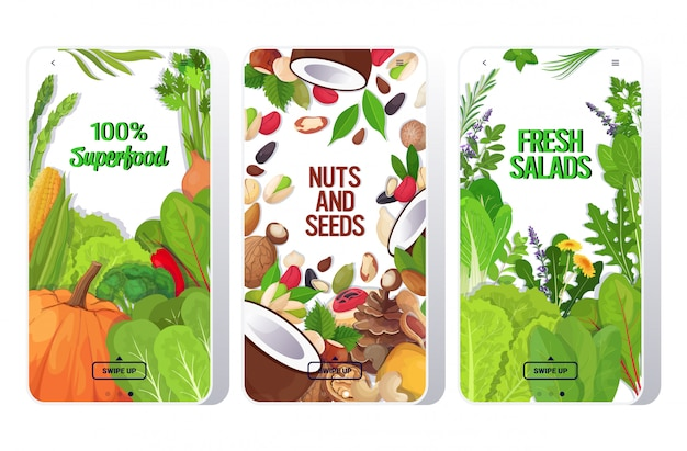 Set frische salate blätter gemüse nüsse und samen mischen gesunde ernährung vegetarisches lebensmittelkonzept smartphone-bildschirme sammlung mobile app horizontal