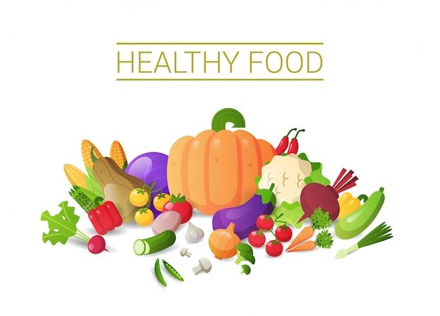 Set frisches gemüse zusammensetzung gesunde lebensmittel konzept horizontalen kopierraum