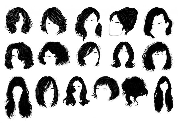 Set frisuren für frauen. sammlung von schwarzen silhouetten von frisuren