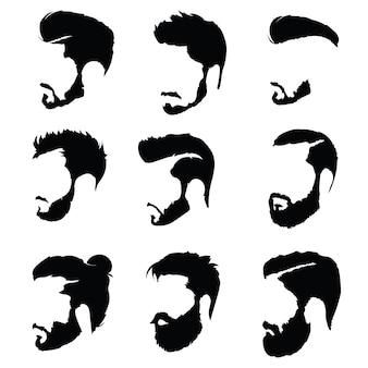 Set frisuren für männer. sammlung von schwarzen silhouetten von frisuren und bärten.