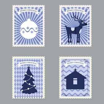 Set frohe weihnachten retro-briefmarken mit weihnachtsbaum, geschenken, hirsch.