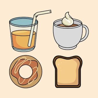 Set frühstück donut brot saft und kaffee