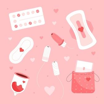 Set für damenhygieneprodukte