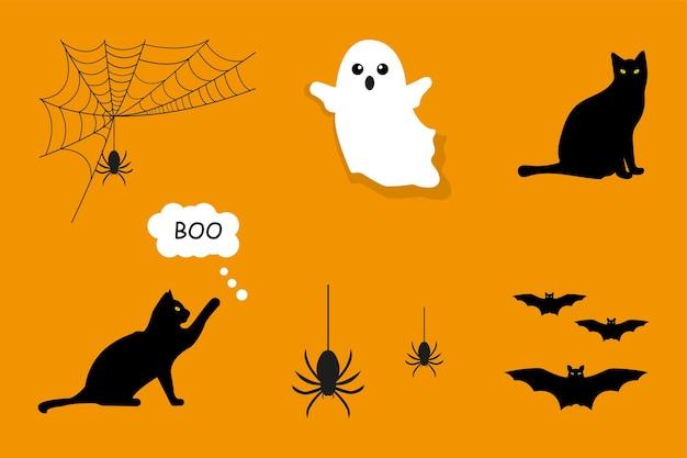 Set für halloween ghost spinnennetz fledermaus maus und katze vektorgrafiken