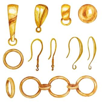 Set für handgemachte schmuckherstellung. goldschmuckfunde, anhängerhalter, ohrringhaken, kette.