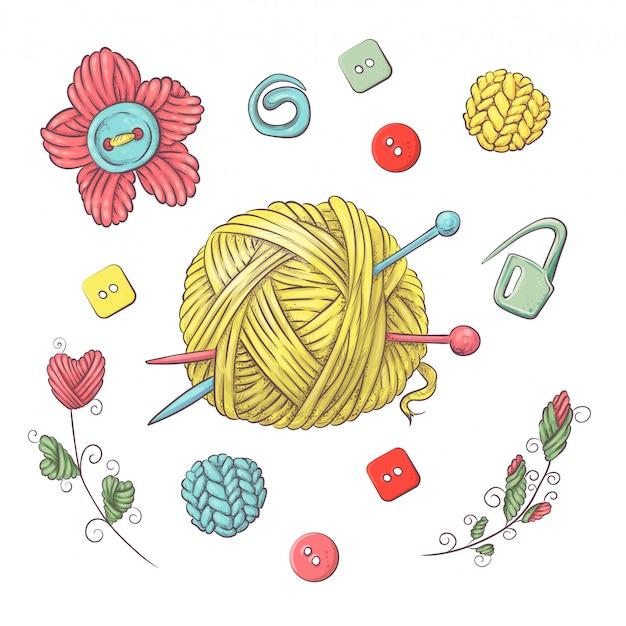 Set für handgemachten ball zum häkeln und stricken.