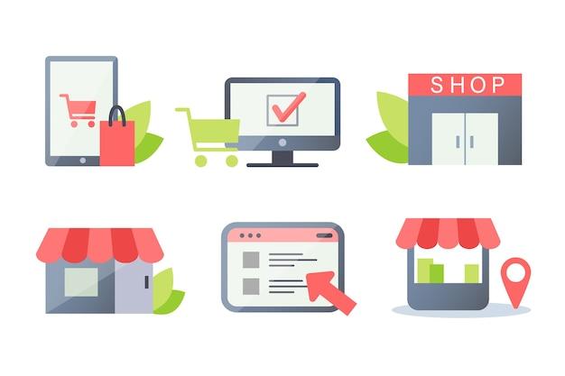 Set für online- und offline-shops, online-shopping