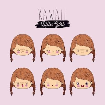 Set für sechs gesichtsausdruck kawaii kleines mädchen