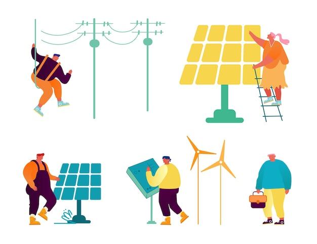 Set für umweltfreundliche und traditionelle technologien