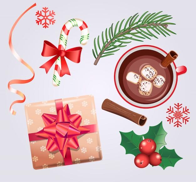 Set für weihnachtsferien mit traditionellen dekorationen