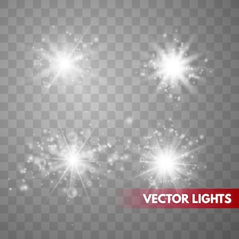 Set funken getrennt. vektor leuchtende sterne. lens flares
