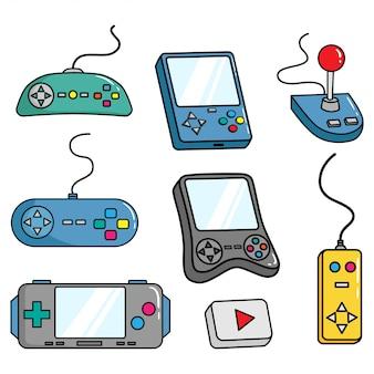 Set gamepad oder videospiel-controller mit doodle-stil