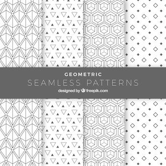 Set geometrische muster mit weißem hintergrund