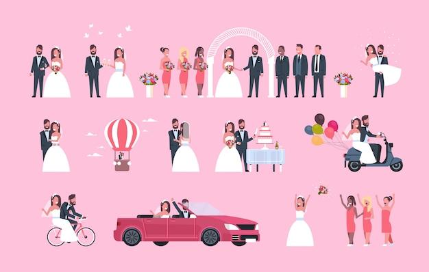 Set gerade verheirateter mann frau zusammen verschiedene konzepte sammlung romantisches paar braut und bräutigam in liebe hochzeitstag feier in voller länge horizontal