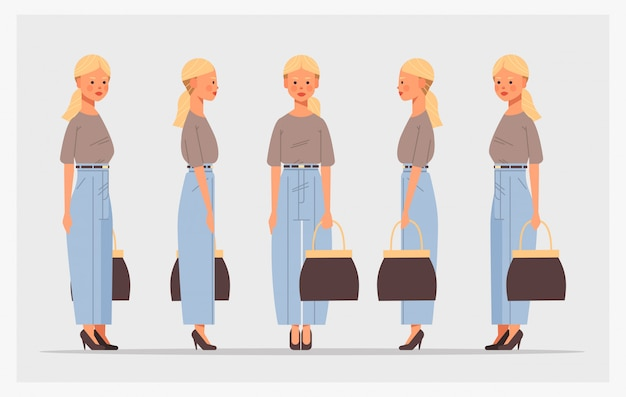 Set geschäftsfrau mit handtasche vorderansicht weibliche figur verschiedene ansichten für animation
