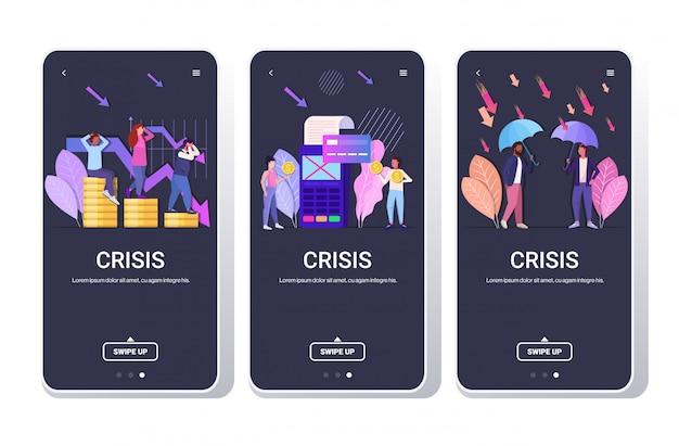 Set geschäftsleute frustriert über finanzkrise abgelehnt zahlungstransaktion geschäftsschutz konzepte sammlung in voller länge telefon bildschirme mobile app horizontal