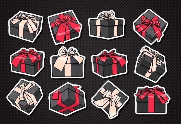 Set geschenkboxen-ikone mit bogen und band auf schwarzem hintergrund