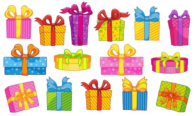 Set geschenkboxen mit bändern. großer gewinn, großer verkauf, black friday, weihnachtsgeschenke