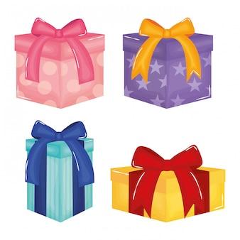 Set geschenkboxen präsentiert farben und formen