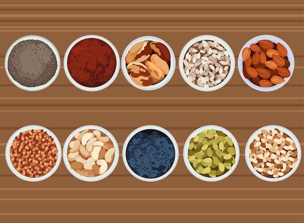 Set gesunde snacks. sammlung von gesunden lebensmitteln der reich an vitaminen.