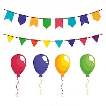 Set girlanden mit luftballons helium hängen