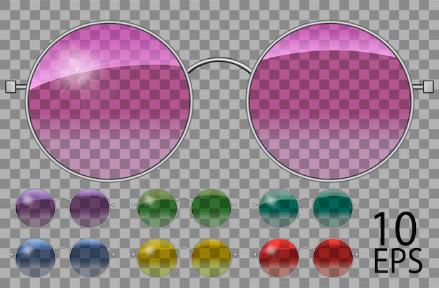 Set glass.teashades runde shape.transparent verschiedene farbe .pink blau lila gelb rot green.sunglasses.3d graphics.unisex frauen männer.