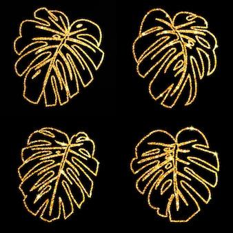Set glitzer textur gold tropische linie verlässt monstera