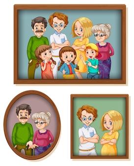 Set glückliches familienfoto auf dem holzrahmen