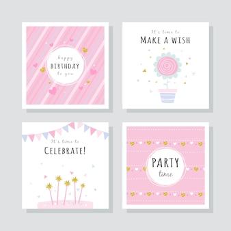Set glückwunschkarten mit bunten partyelementen