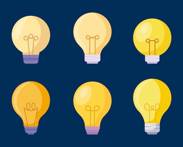 Set glühbirnen symbole