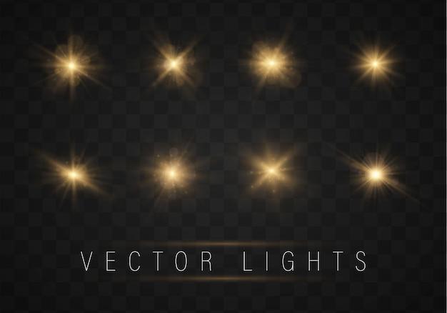 Set gold helle schöne sterne mit glüheneffekt