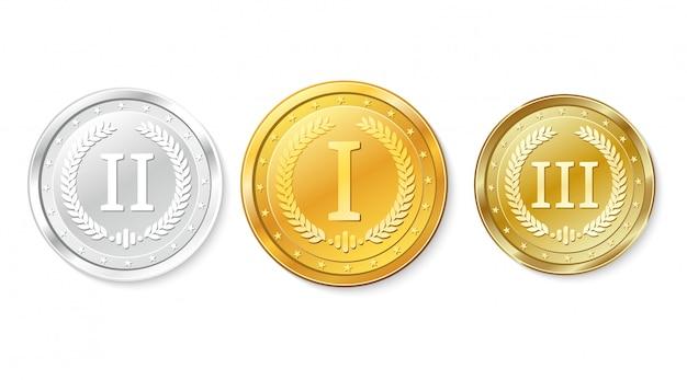Set gold-, silber- und bronzemedaillen. auszeichnungen für den ersten, zweiten und dritten platz.