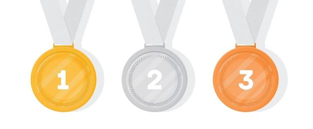 Set gold-, silber- und bronzemedaillen