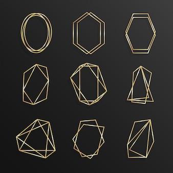 Set gold von geometrischen rahmen polyeder strichzeichnungen