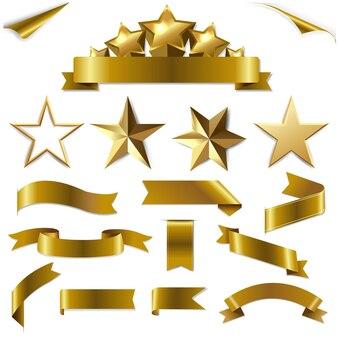 Set goldbänder und sterne set mit verlaufsgitter