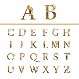Set goldbuchstabe mit reis für logo-design