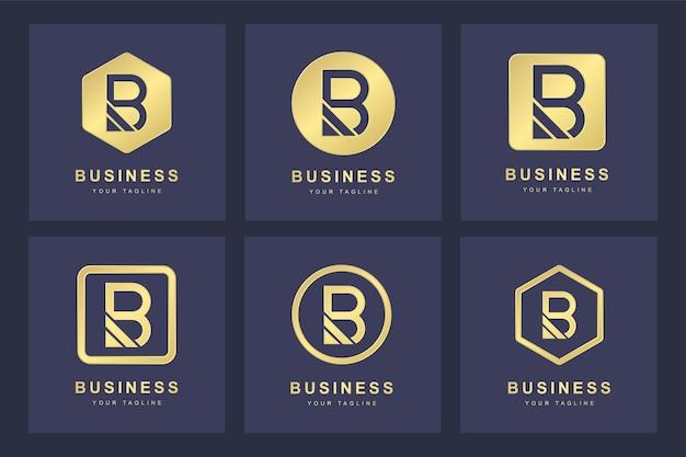 Set golden b letter logo mit mehreren versionen