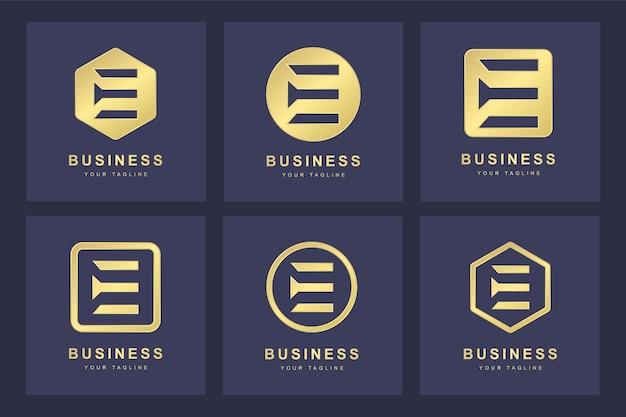 Set golden e letter logo mit mehreren versionen