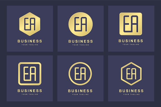 Set golden ea letter logo mit mehreren versionen