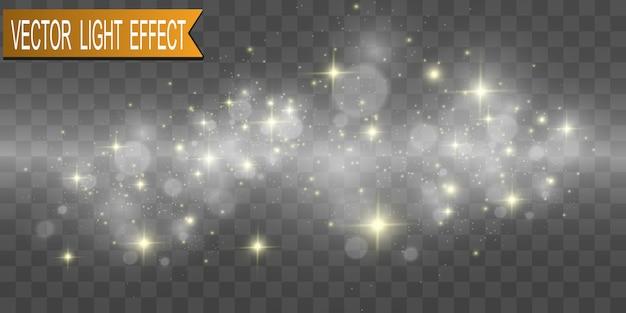 Set goldene helle schöne sterne. lichteffekt heller stern. schönes licht zur veranschaulichung. weihnachtsstern. weiße funken funkeln mit einem besonderen licht. vektor funkelt auf transparentem hintergrund