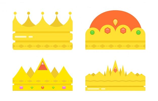 Set goldene königskronen oder -diademe