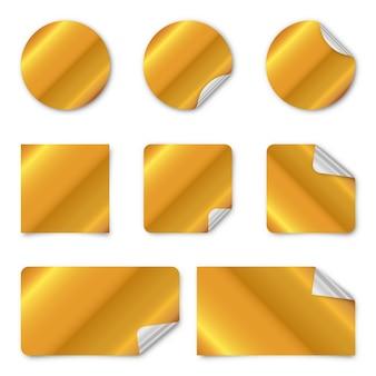 Set goldene papieraufkleber.