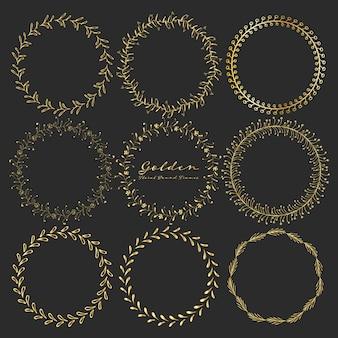 Set goldene runde mit blumenrahmen für dekoration.