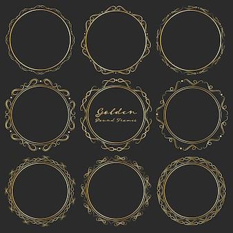 Set goldene runde rahmen für die dekoration.